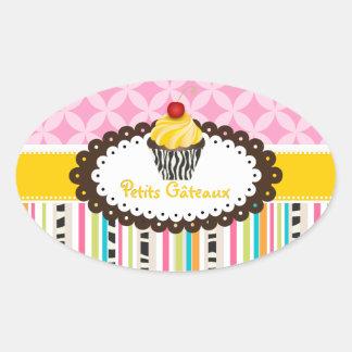 PixDezines lemon swirls cupcake/DIY color Oval Stickers