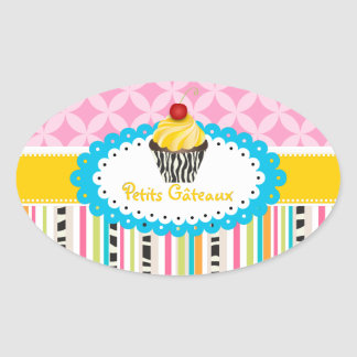 PixDezines lemon swirls cupcake/DIY color Oval Sticker
