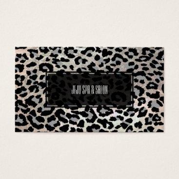Professional Business PixDezines leopard/grey/faux silver Business Card