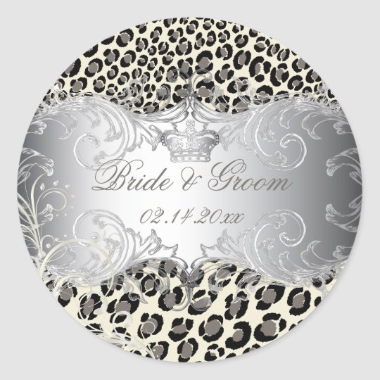 PixDezines Leopard+pearl swirls wedding stickers
