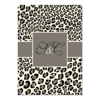 PixDezines Leopard spots/black/grey/off white 5x7 Paper Invitation Card