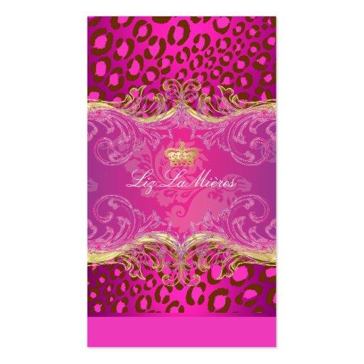 PixDezines Leopard spots / framboise Business Cards
