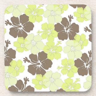 PixDezines lime hibiscus/diy background Beverage Coaster