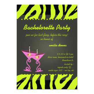 PixDezines Lime Zebra/pink martini Bachelorette Card
