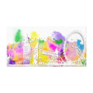 PixDezines london color run, eiffel tower Canvas Print
