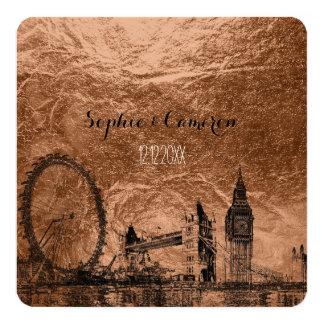 "PixDezines london urban/faux copper background 5.25"" Square Invitation Card"