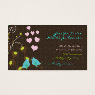 PixDezines love birds+floating hearts/diy colors Business Card
