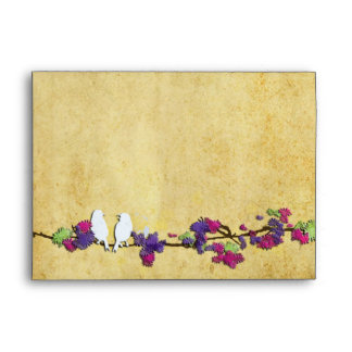 PixDezines Love Birds on Pink Blossoms Branch Envelopes