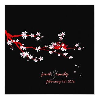 PixDezines Love birds/red cherry/sakura blossoms Invites