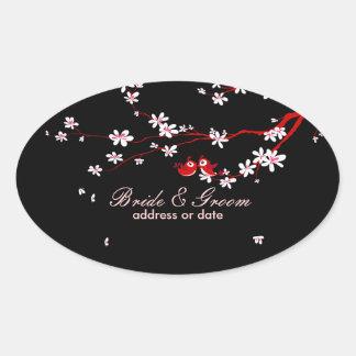 PixDezines Love birds/red cherry/sakura blossoms Stickers