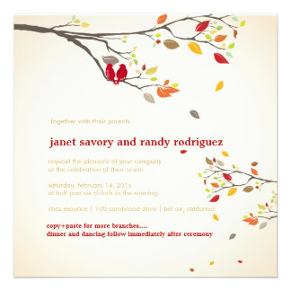 PixDezines love birds red fall events Personalized Invitations