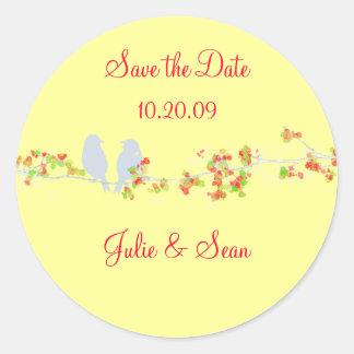 PixDezines love birds/save date/DIY background Round Stickers