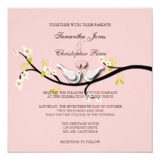 PixDezines love doves/diy background color 5.25x5.25 Square Paper Invitation Card