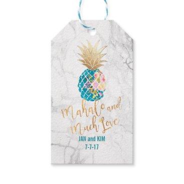 custom_stationery PixDezines Mahalo/Aloha Pineapples/Marble Gift Tags