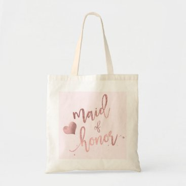 PixDezines PixDezines Maid of../Faux Rose Gold Script Tote Bag