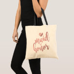 """PixDezines Maid of Honor/Faux Rose Gold Script Tote Bag<br><div class=""""desc"""">PixDezines Maid of Honor favor bags in faux metallic rose gold modern script.  Copyright &#169; 2015-2017 PixDezines.com™ and PixDezines™ on zazzle.com.  All rights reserved.</div>"""