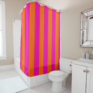 PixDezines Mandarin Orange Pink Stripes Adjustable Shower Curtain