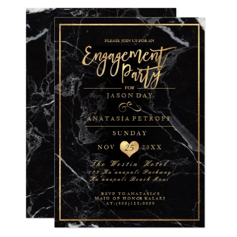 PixDezines Marble/Faux Gold/Engagement Party Invitation