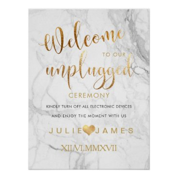 Beach Themed PixDezines Marble/Faux Gold/#UNPLUGGED Poster