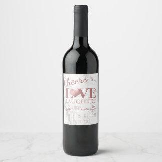 PixDezines Marble+Faux Rose Gold Heart Wine Label