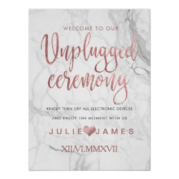 Beach Themed PixDezines Marble/Faux Rose Gold/#UNPLUGGED Poster