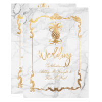 PixDezines Marble/Royal Hawaiian Pineapple Invitation
