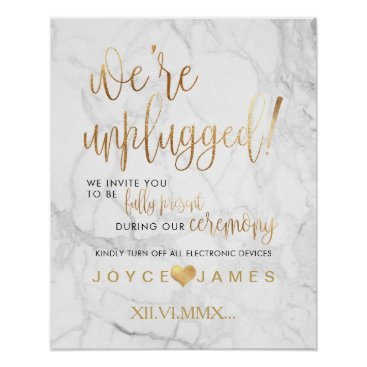 Beach Themed PixDezines MarbleFaux Gold/DIY #UNPLUGGED CEREMONY Poster