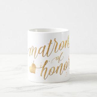 PixDezines Matron of Honor/Faux Gold Foil Script Coffee Mug