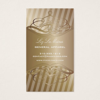 PixDezines Medium Stripes + Faux Copper Business Card