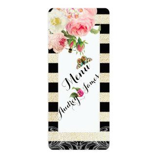 PixDezines menu black stripes/gold specks/roses Card