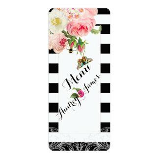 PixDezines Menu Black stripes/Roses Card