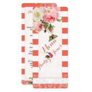 PixDezines Menu Coral+White Stripes/Roses Card
