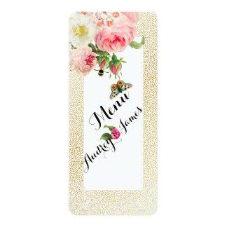 PixDezines Menu Faux Gold Specks/roses Card