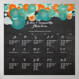 PixDezines Mint Green/Orange/Lanterns/seatingchart Poster