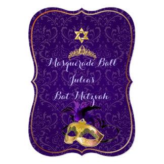 """PixDezines Mitzvah Masquerade/DIY color!! 5"""" X 7"""" Invitation Card"""
