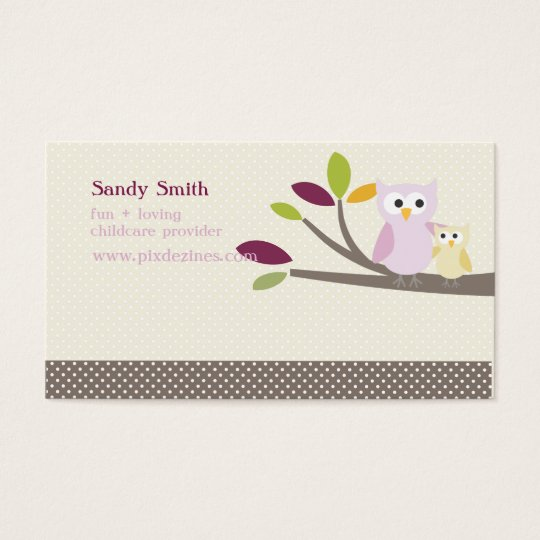 PixDezines Mommy + Baby owls childcare Business Card