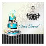 PixDezines monogram bridal brunch, teal blue cake Card