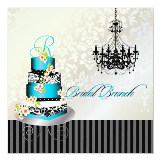 PixDezines monogram bridal brunch, teal blue cake 5.25x5.25 Square Paper Invitation Card
