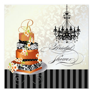 PixDezines monogram bridal, burnt appricot cake 5.25x5.25 Square Paper Invitation Card