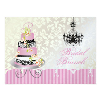 PixDezines monogram bridal cake/pink Card
