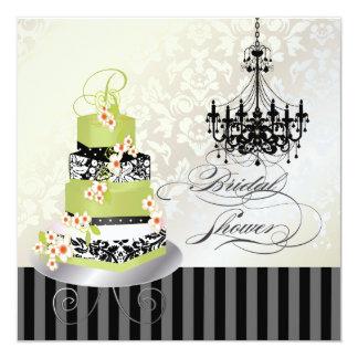 PixDezines monogram bridal, green tea cake 5.25x5.25 Square Paper Invitation Card