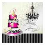 PixDezines monogram bridal, hot pink cake Card