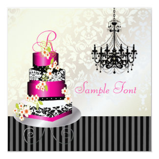 PixDezines monogram bridal, hot pink cake 5.25x5.25 Square Paper Invitation Card