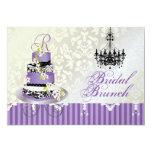 PixDezines monogram bridal, lavender wedding cake 5x7 Paper Invitation Card