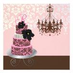 PixDezines monogram bridal, pink chocolate cake Personalized Announcements