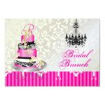 PixDezines monogram bridal, pink wedding cake 5x7 Paper Invitation Card