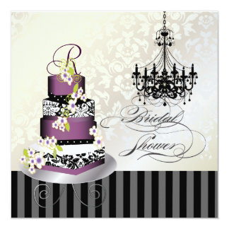 PixDezines monogram bridal, plum pudding cake Card
