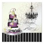 PixDezines monogram bridal, plum pudding cake 5.25x5.25 Square Paper Invitation Card