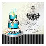 PixDezines monogram bridal shower, blue cake 5.25x5.25 Square Paper Invitation Card