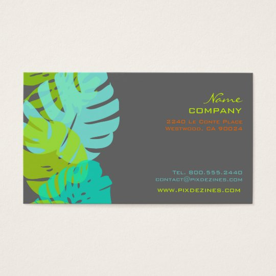 PixDezines Monstera, retro tropical foliage Business Card